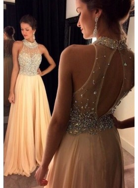 Elegant A Line Beaded Chiffon Pink Long Cheap Prom Dress 2021