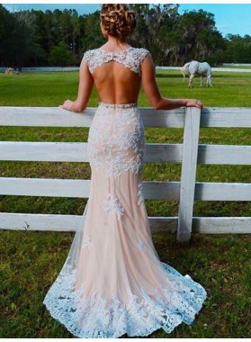 2020 New Arrival Sheath Champagne Tulle Backless Beaded Prom Dress
