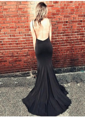 Sexy Black Sheath Sweetheart Side Slit Long Backless 2021 Prom Dress