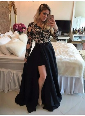 Cheap A Line Black Long Sleeves Side Slit Satin Prom Dress With Appliques 2020