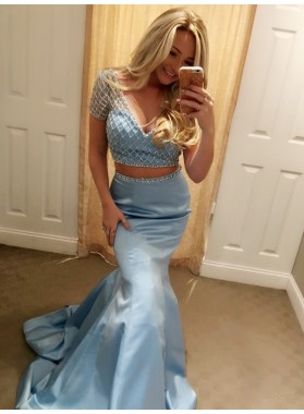 2021 New Designer Blue Mermaid Short Sleeves Beaded V Neck Two Pieces Prom Dress