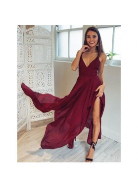 Cheap A Line Chiffon Burgundy Asymmetrical Criss Cross V Neck Short Prom Dress 2021