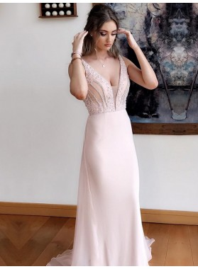 2021 Elegant Blushing Pink Sheath V Neck Beaded Chiffon Long Prom Dress