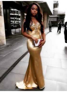 Sexy Mermaid Elastic Satin Gold Sweetheart Zipper Back Long Prom Dress 2020