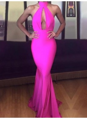 2020 Sexy Mermaid Pink High Neck Key Hole Backless Long Prom Dress