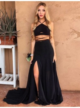 Cheap A Line Black Side Slit Long Train Two Pieces 2021 Prom Dress