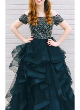 2020 New Arrival A Line Off Shoulder Dark Navy Beaded Sweetheart Ruffles Short Sleeves Plus Size Prom Dress