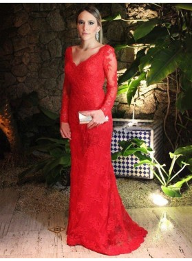 2020 Elegant Sheath Long Sleeves Red Lace Backless Sweetheart Prom Dress