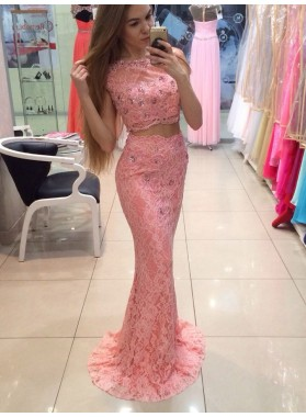 2020 Elegant Sheath Pink Lace Two Pieces Prom Dress