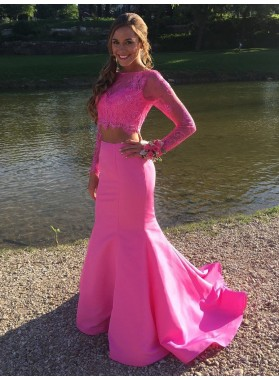 Amazing Mermaid Long Sleeve Satin Lace Two Pieces Long Pink Prom Dress 2021