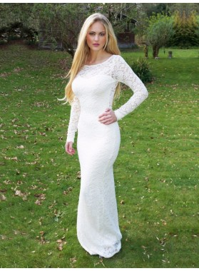 2020 Sexy Mermaid Long Sleeves Backless White Scoop Long Lace Prom Dress