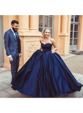 Charming Satin Sweetheart Dark Navy Ball Gown 2021 Prom Dress