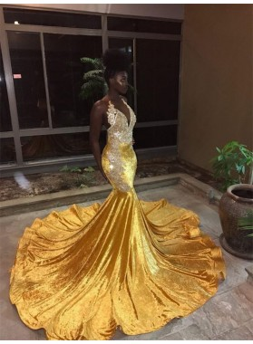 2020 Yellow Halter Backless Mermaid Beads Sweep Train V-neck Prom Dresses