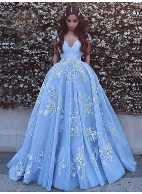 2020 A Line off Shoulder V Neck Bodice Applique Prom Dresses / Ball Gown
