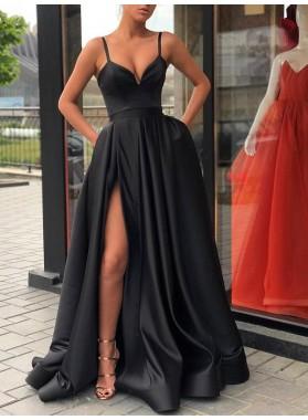 2021 Spaghetti Strap V Neck Bodice Split Front Prom Dresses