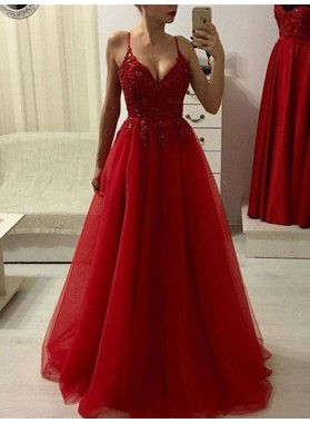 2021 Red Beaded Tulle Spaghetti V Neck Sleepless Prom Dresses