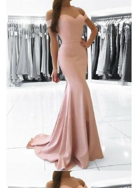 2021 Sweetheart Pink Bodice Mermaid Off Shoulder Prom Dresses