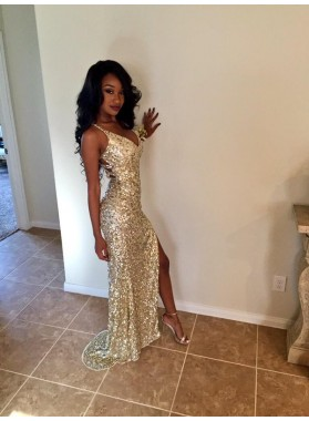 2021 Sequins V Neck Sleeveless Split Front Prom Dresses