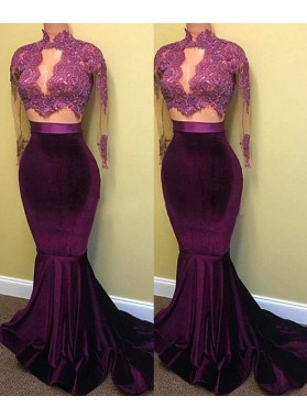 Two Piece Long Sleeve Mermaid Turtle Neck Applique Prom Dresses