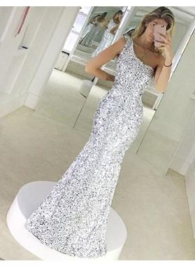 One Shoulder Mermaid Sequined Shining Sleeveless Silver Elegant Prom Dress