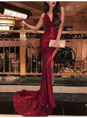 Mermaid V Neck Ruffle Backless Side Split Sleeveless Red Sequined Prom Dress