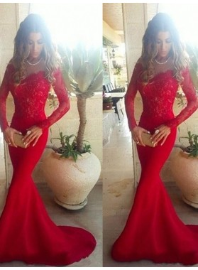 Off Shoulder Lace Long Sleeve Mesh Mermaid Red Prom Dress