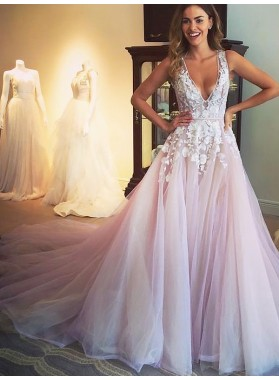 A Line Royal Train Pleated Ruffle V Neck Lace Tulle Layered Backless Prom Dress