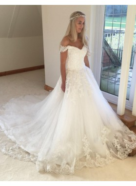 Off Shoulder White Lace Cathedral Train Applique Sweetheart Wedding Dresses