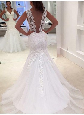 Backless Sexy Mermaid Sheer Straps Applique Tulle Layered Wedding Dresses