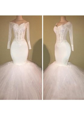 Long Sleeve White Off Shoulder Mermaid Droped Tulle Applique Wedding Dresses