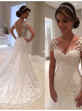 Regular Sweetheart Applique Beading A Line Backless Lace Wedding Dresses