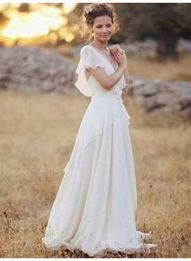 Flouncing Sleeve Sheer Backless Applique Tiers Pleated Bowknot Wedding Dresses
