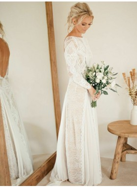 Scoop Neck Long Sleeve Ivory Lace Applique Backless Floor Length Wedding Dresses