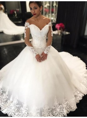 White Off Shoulder Ball Gown Long Sleeve Sweetheart Applique Wedding Dresses
