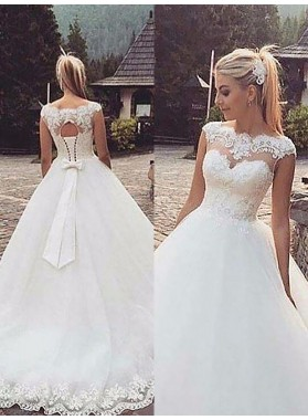 Lace up Ball Gown Hollow Sheer Lace Sweetheart Organza Wedding Dresses