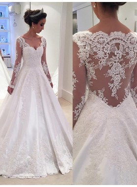 Backless Lace Applique A Line White V Neck Long Sleeve Wedding Dresses