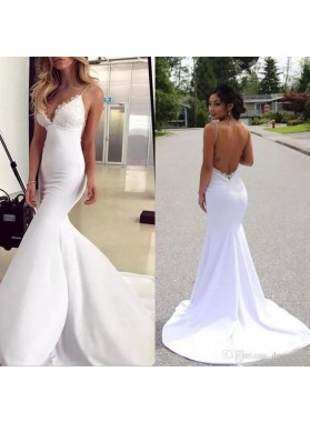 White Backless Mermaid Deep V Spaghetti Straps Sleeveless Wedding Dresses
