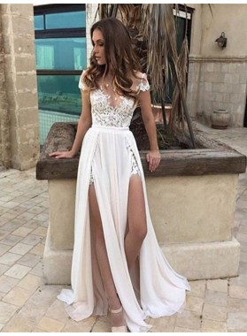 Applique Ivory Side Slit Floor Length Deep V Wedding Dresses