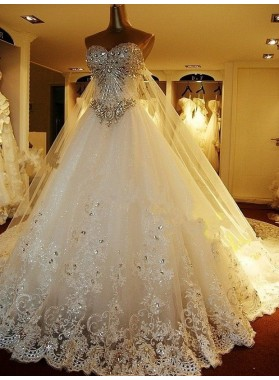Rhinestone A Line Champagne Sweetheart Sleeveless Backless Applique Wedding Dresses