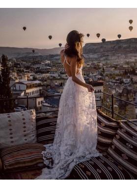 Criss Cross White Lace Applique Halter V Neck Sexy Empire Wedding Dresses