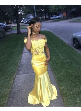 2020 Brilliant Daffodil Off-The-Shoulder Lace Mermaid/Trumpet Satin Prom Dresses