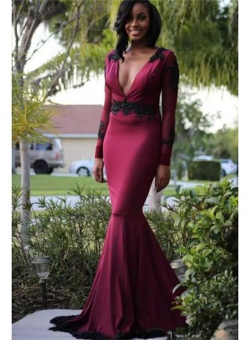 2021 Junoesque Burgundy V Neck Long Sleeve Applique Mermaid/Trumpet Taffeta Prom Dresses