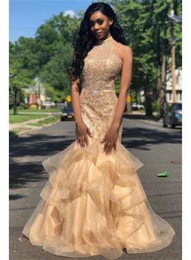 2020 Glamorous Champagne Halter Beading Mermaid/Trumpet Organza Tiers Prom Dresses