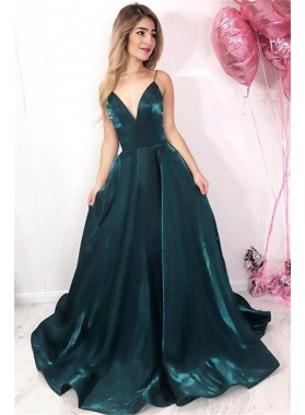 2020 Gorgeous Dark-Green A-Line/Princess V Neck Spaghetti Straps Satin Prom Dresses