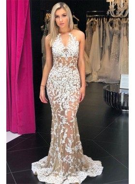 2021 Chic & Modern White Lace Scoop Neck Sleeveless See Through Mermaid/Trumpet Prom Dresses