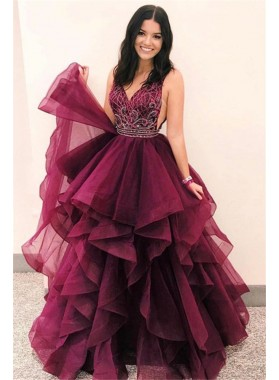 2021 Junoesque Burgundy V Neck Embroidery Beaded Tiers Organza High-Low Prom Dresses