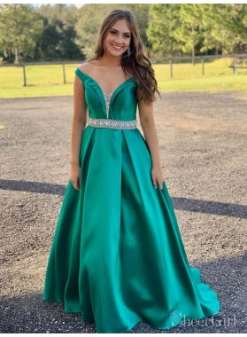 2021 Classic Jade A-Line/Princess V Neck Off-The-Shoulder Beaded Satin Plus Size Prom Dresses