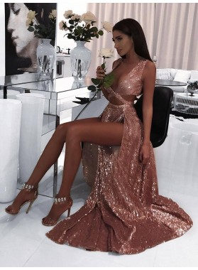 2021 Seductive Dusty-Rose V Neck Criss-Cross Double Split-Front Sequins Beaded Prom Dresses