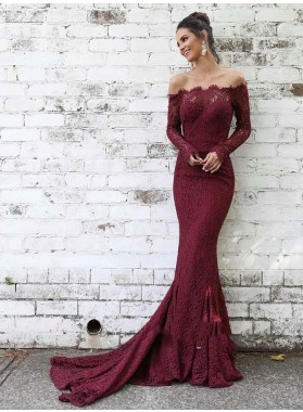 2021 Elegant Burgundy Off-The-Shoulder Long Sleeve Lace Mermaid/Trumpet Court Train Prom Dresses
