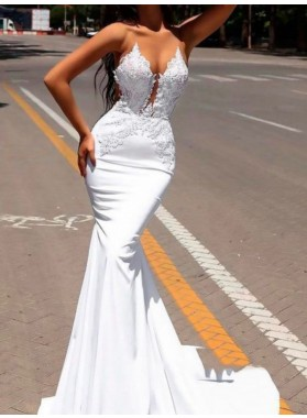 2020 Chic White Satin Georgette Applique See Through Mermaid/Trumpet Backless Prom Dresses